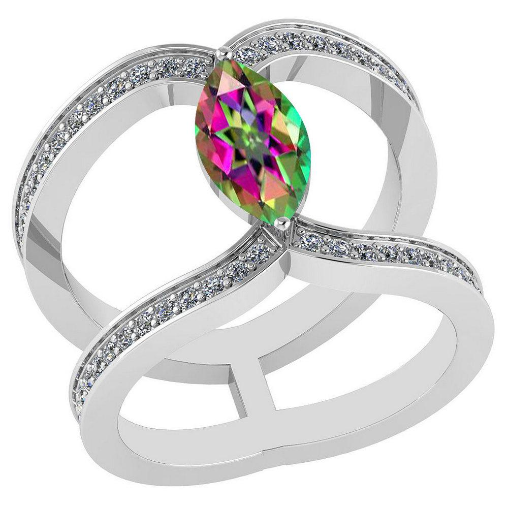 Certified 1.52 Ctw Mystic Topaz And Diamond VS/SI1 Ring 18K White Gold Made In USA