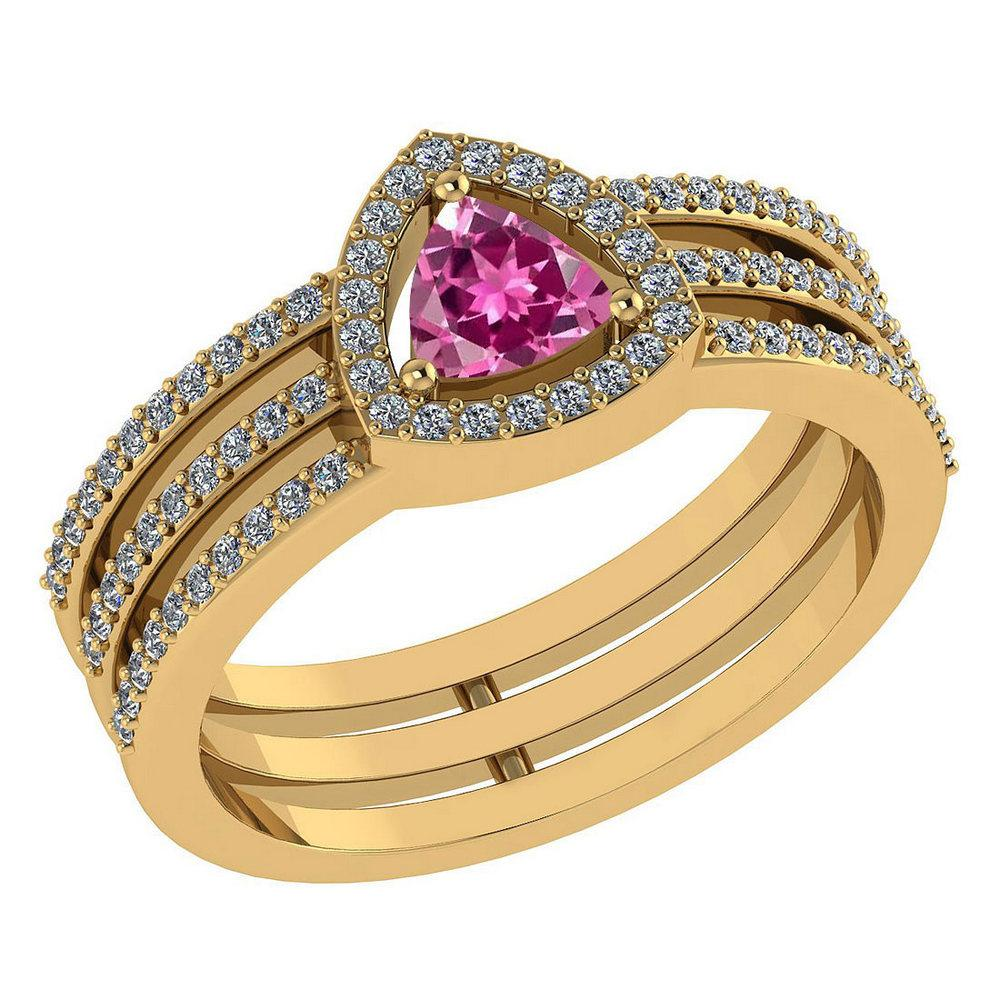 Certified 0.91 Ctw Pink Tourmaline And Diamond 14k Rose Gold Halo Anniversary Ring Made In USA