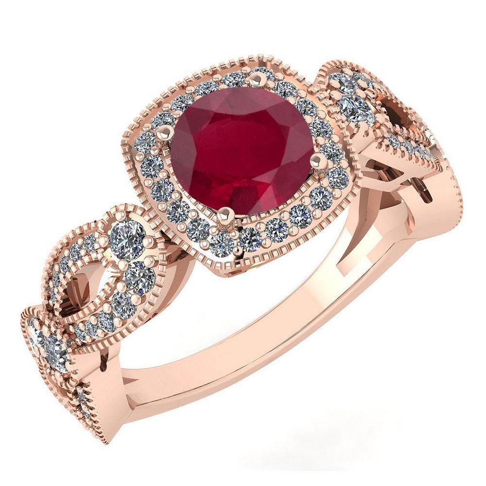 Certified 1.83 Ctw Ruby And Diamond Wedding/Engagement 14K Rose Gold Halo Ring