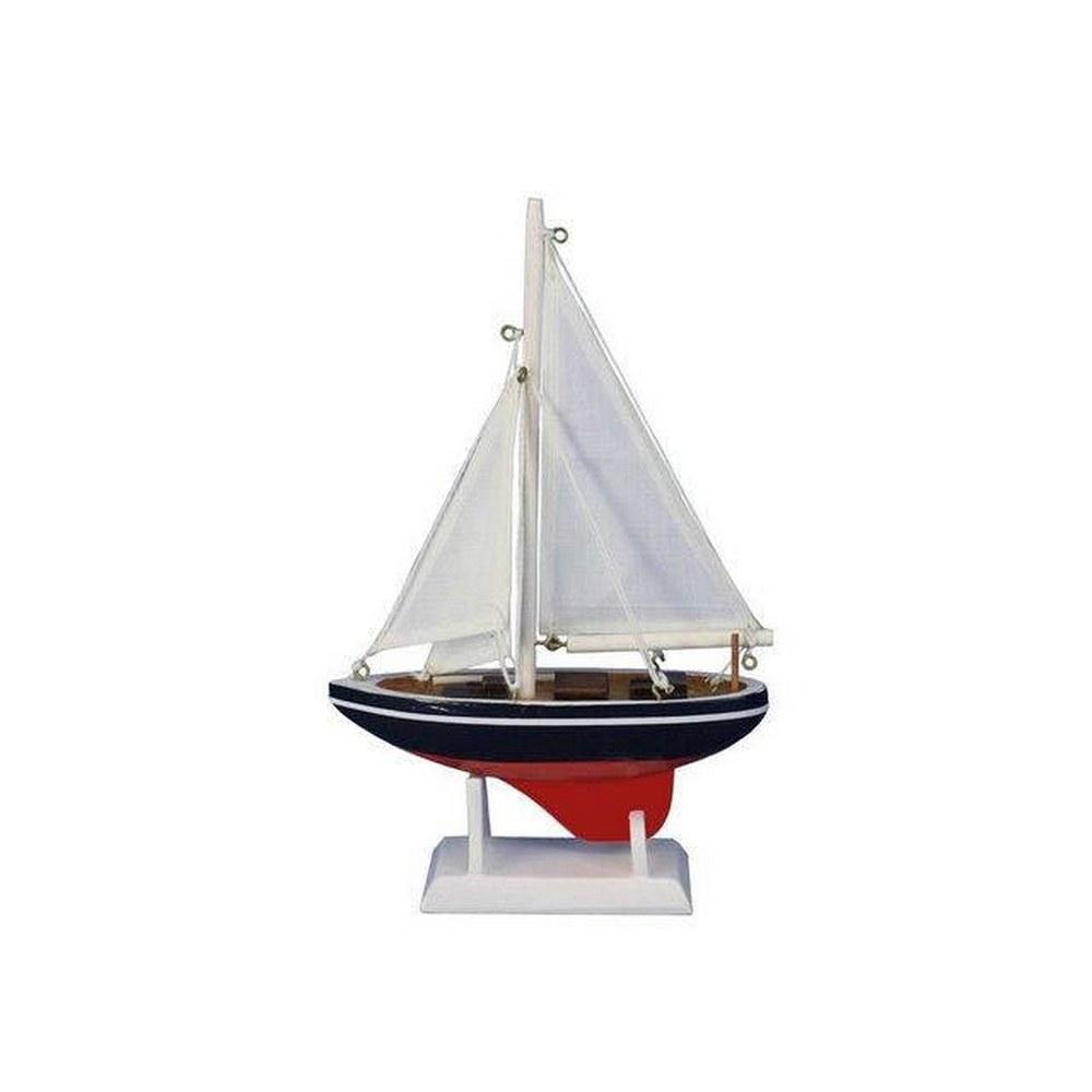 Wooden American Sailer Model Sailboat Decoration 9in.