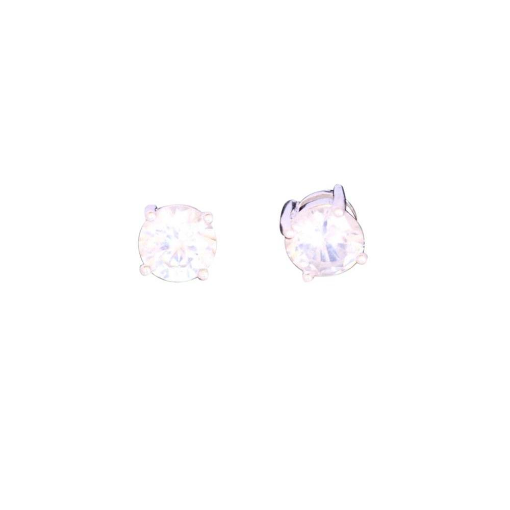 .925 STERLING SILVER CLEAR CZ STUD EARRINGS