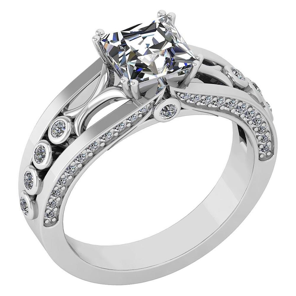 Certified 1.53 Ctw Diamond Wedding/Engagement Style 14k White Gold Halo Ring (SI2/I1)