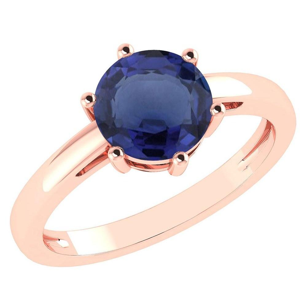 Certified 2.00Ctw Genuine Blue Sapphire 14k Rose Gold Halo Ring