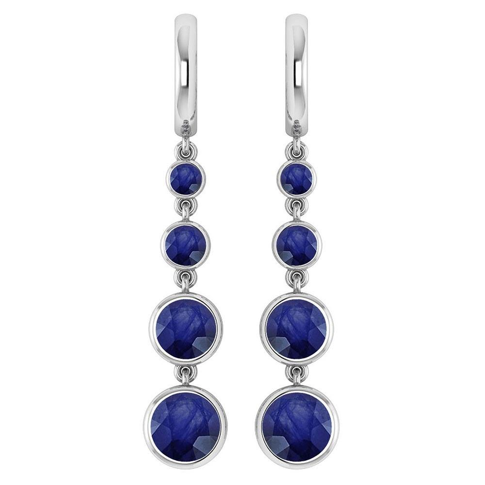 Certified 5.26 Ctw Blue Sapphire Drop Style Earrings For beautiful ladies 14K White Gold