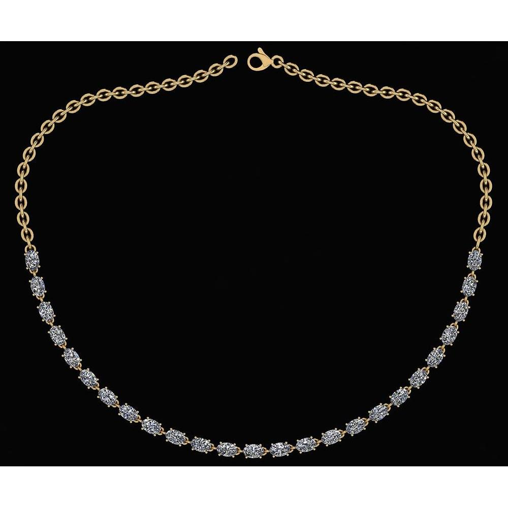 Certified 12.50 Ctw Diamond Necklace For Ladies 14K Yellow Gold (SI2/I1)