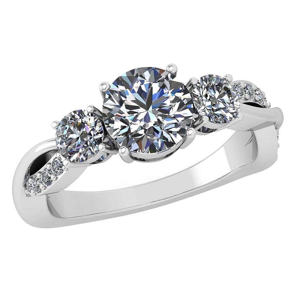 Certified 1.82 Ctw Diamond Wedding/Engagement Style 14K White Gold Halo Ring (SI2/I1)