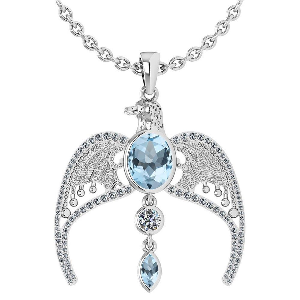 Certified 3.41 Ctw Aquamarine And Diamond Eagle Necklace For womens collection 14K White Gold