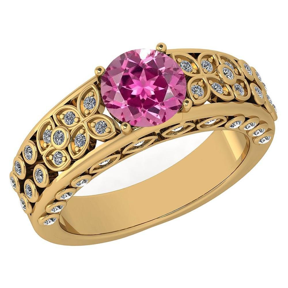 Certified 1.57 Ctw Pink Tourmaline And Diamond Wedding/Engagement 14K Yellow Gold Halo Ring (VS/SI1) MADE IN USA
