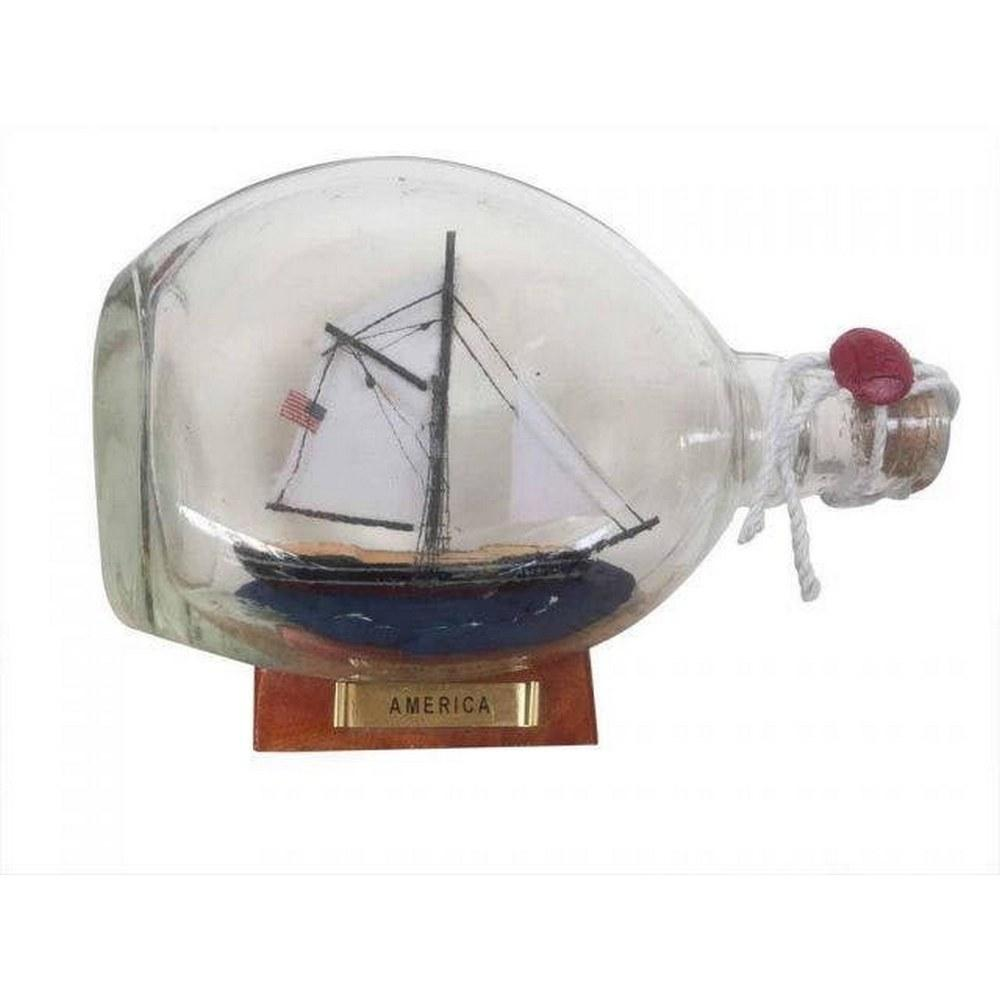 America Sailboat in a Glass Bottle 7in.