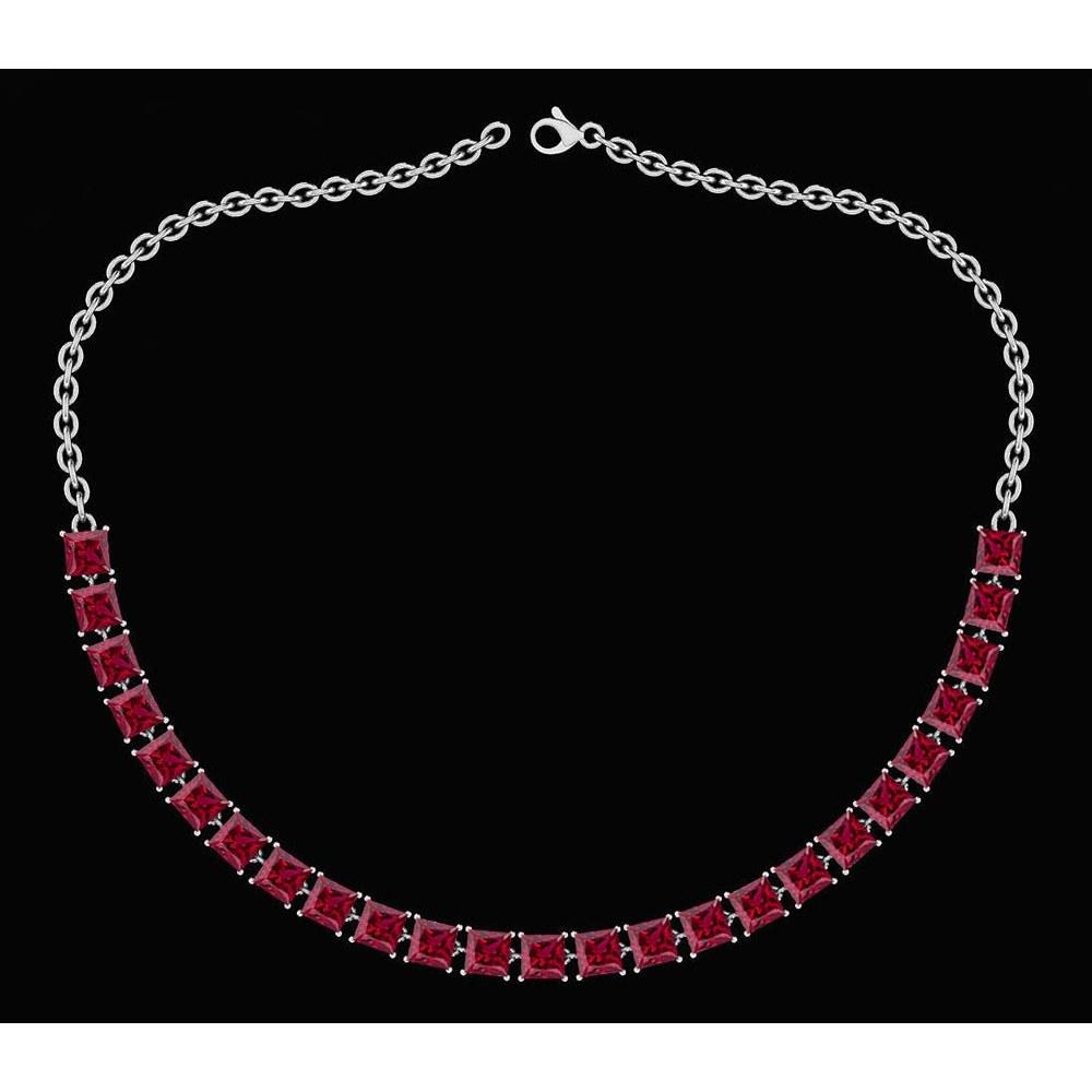 Certified 18.75 Ctw Garnet Princess Shape Necklace For womens 21st Century New collection 14K White Gold