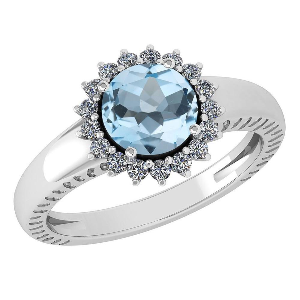 Certified 1.48 Ctw Aquamarine And Diamond Wedding/Engagement Style 14K White Gold Halo Rings