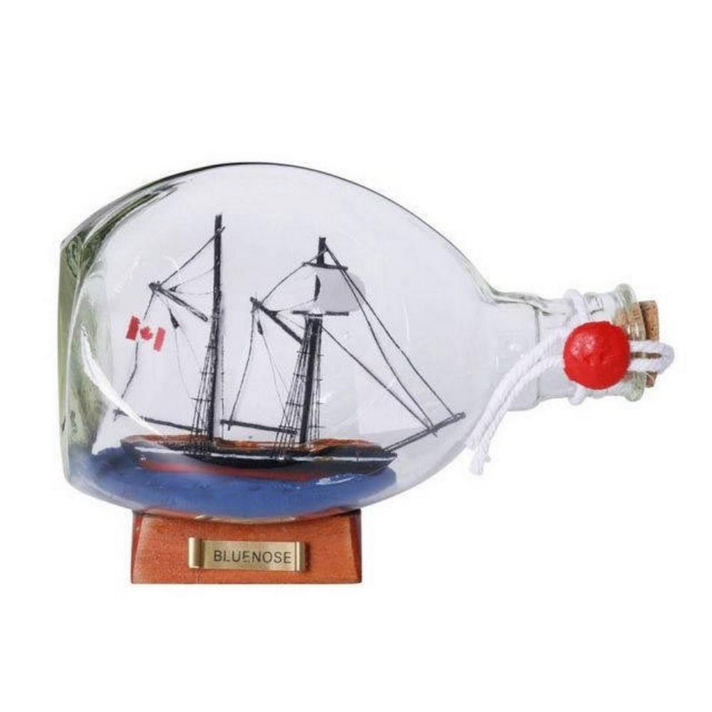 Bluenose Sailboat in a Glass Bottle 7in.