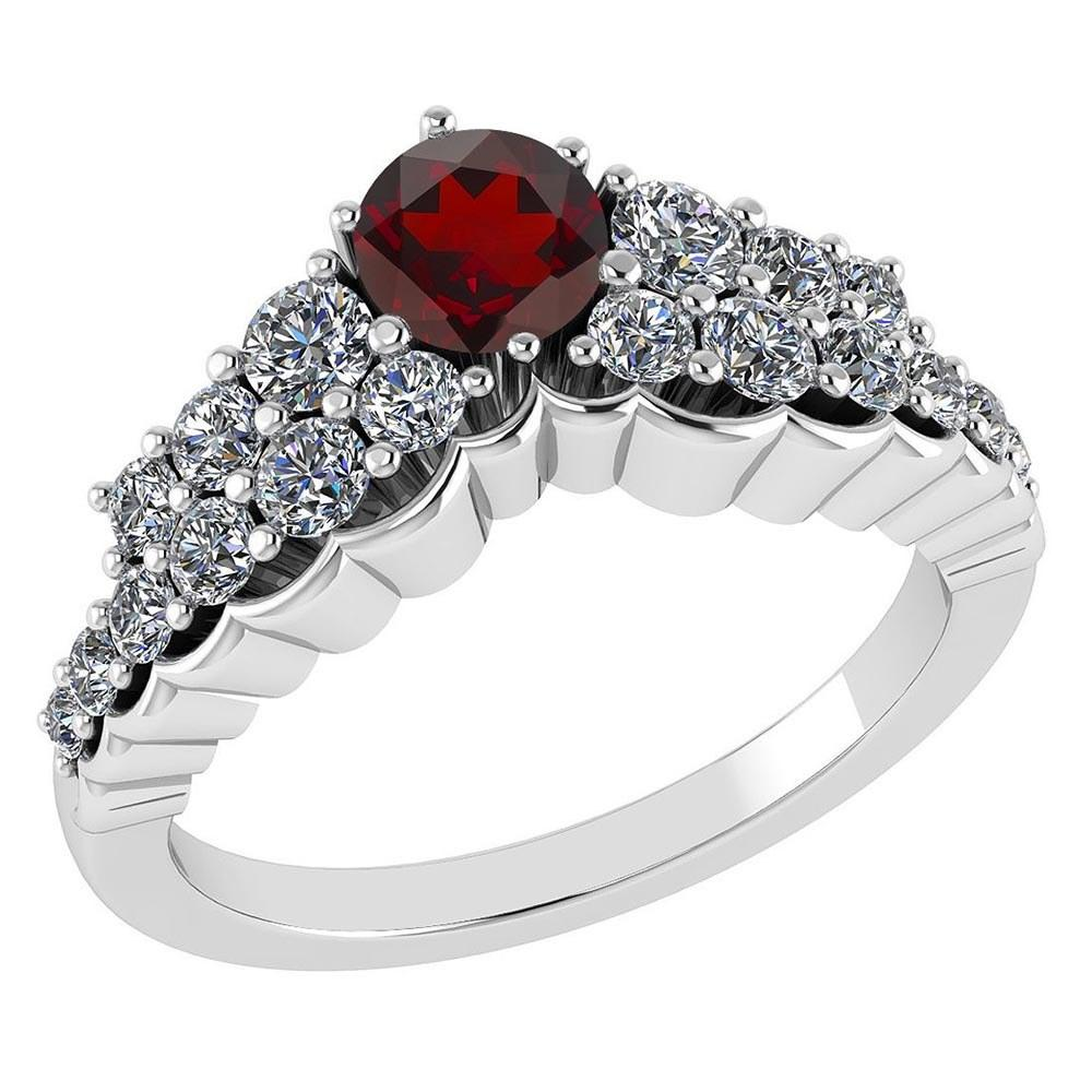 Certified 0.95 Ctw Garnet And Diamond VS/SI1 Ring 14k White Gold Made In USA