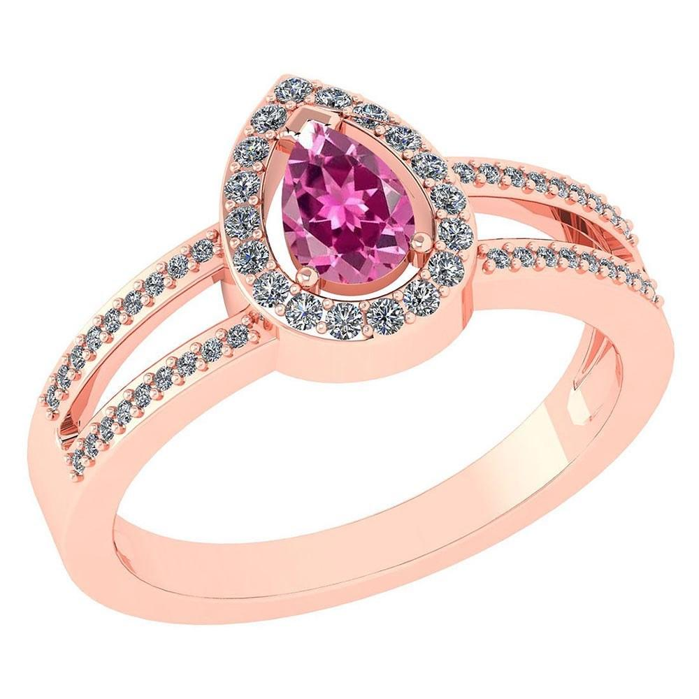 Certified 0.74 CTW Pink Tourmaline And Diamond 14k Rose Gold Halo Ring