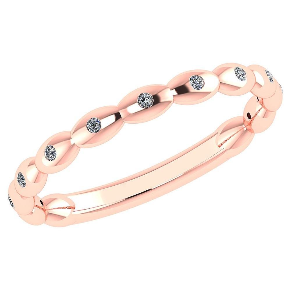 Certified 0.07 Ctw Diamond 18K Rose Gold Halo Ring