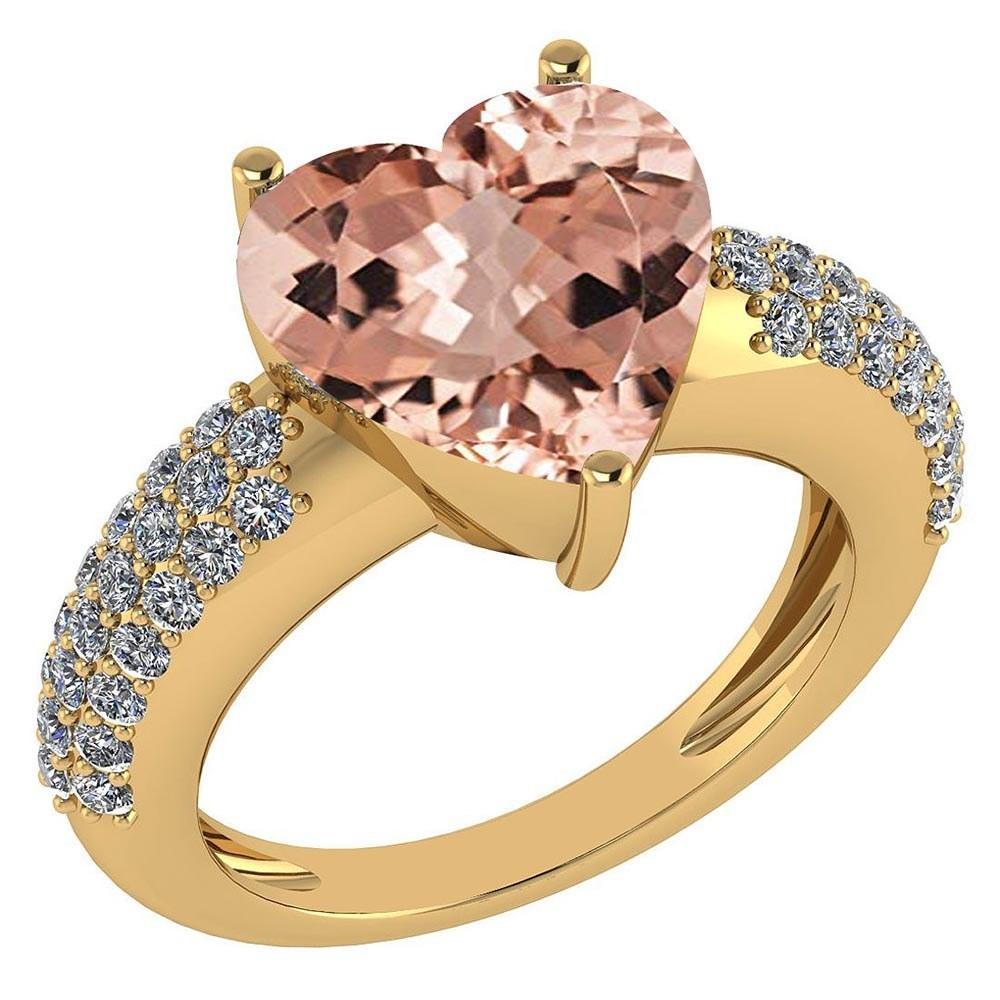 Certified 5.01 Ctw Morganite And White Diamond VS/SI1 Ladies Fashion Halo Ring 14k Yellow Gold