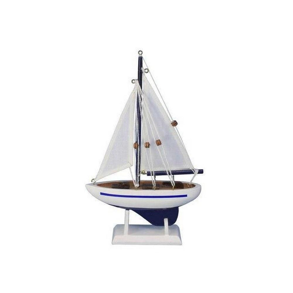 Wooden Blue Pacific Sailer Model Sailboat Decoration 9in.