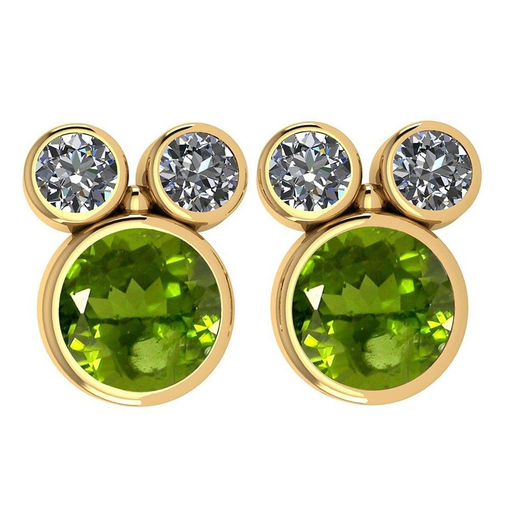 Certified 3.14 Ctw Peridot And Diamond VS/SI1 Earrings 14K Yellow Gold Made In USA