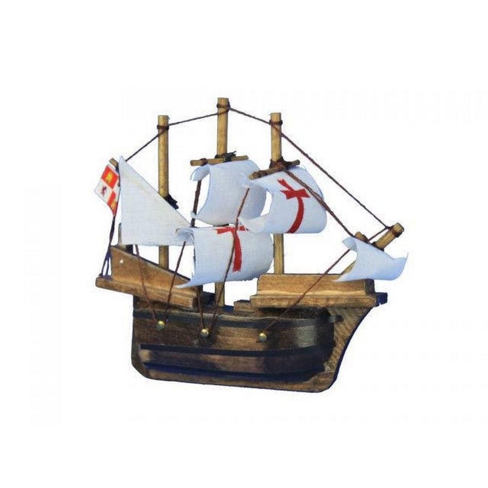Wooden Santa Maria Tall Model Ship Magnet 4in.