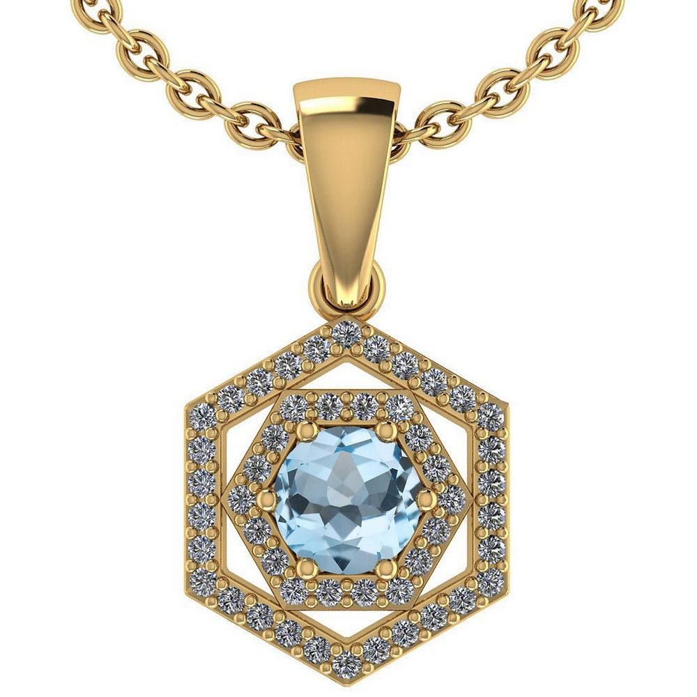 Certified 0.69 Ctw Aquamarine And Diamond 14k Yellow Gold Halo necklace VS/SI1