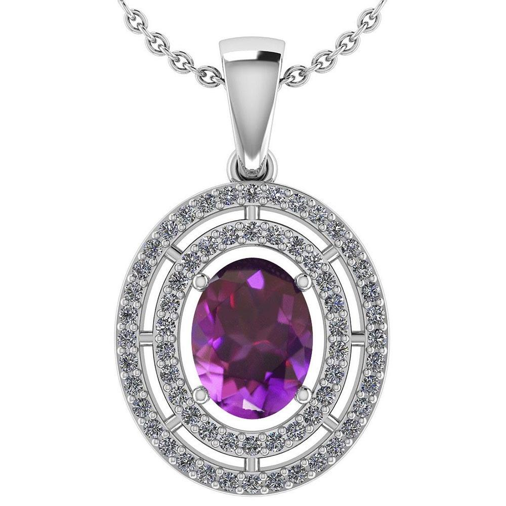 Certified 1.56 Ctw Amethyst And Diamond 18K White Gold Halo Pendant