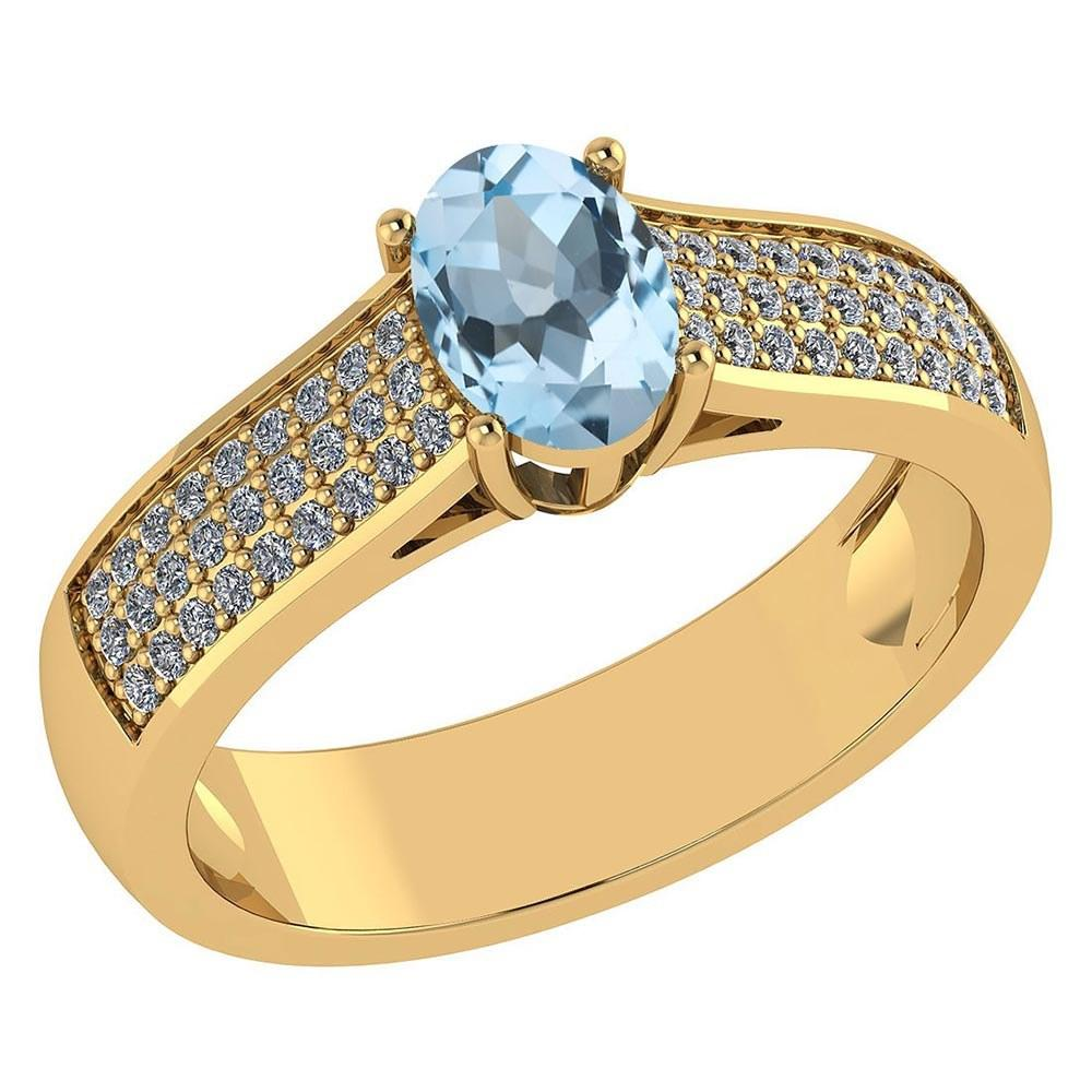 Certified 1.2Ctw Aquamarine And Diamond 14k Yellow Gold Halo Ring