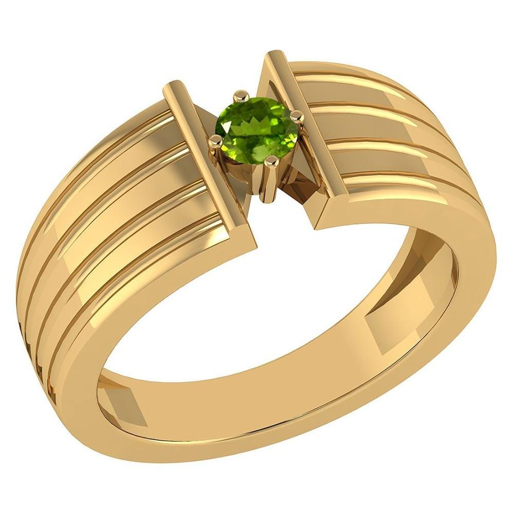 Certified 0.20 Ctw Peridot Solitaire Ring 10K Yellow Gold Made In USA