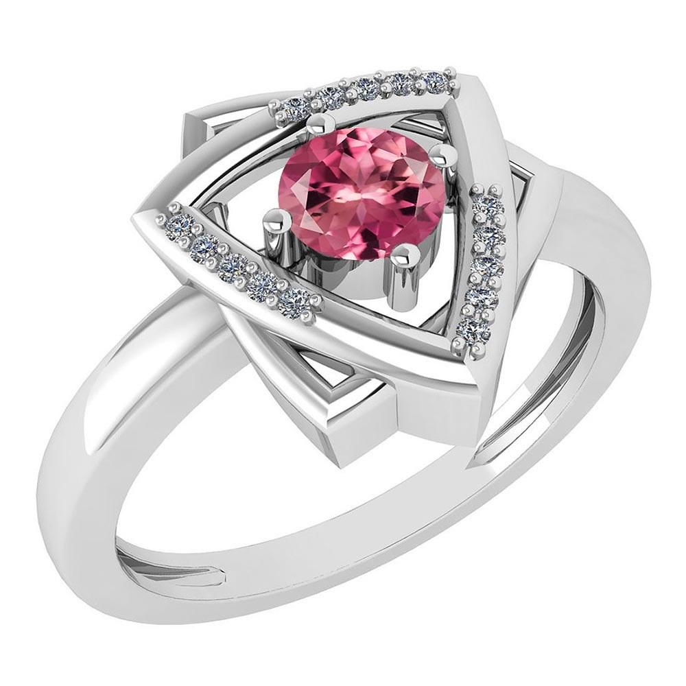 Certified 0.29 Ctw Pink Tourmaline And Diamond VS/SI1 Halo Ring 14k White Gold Made In USA
