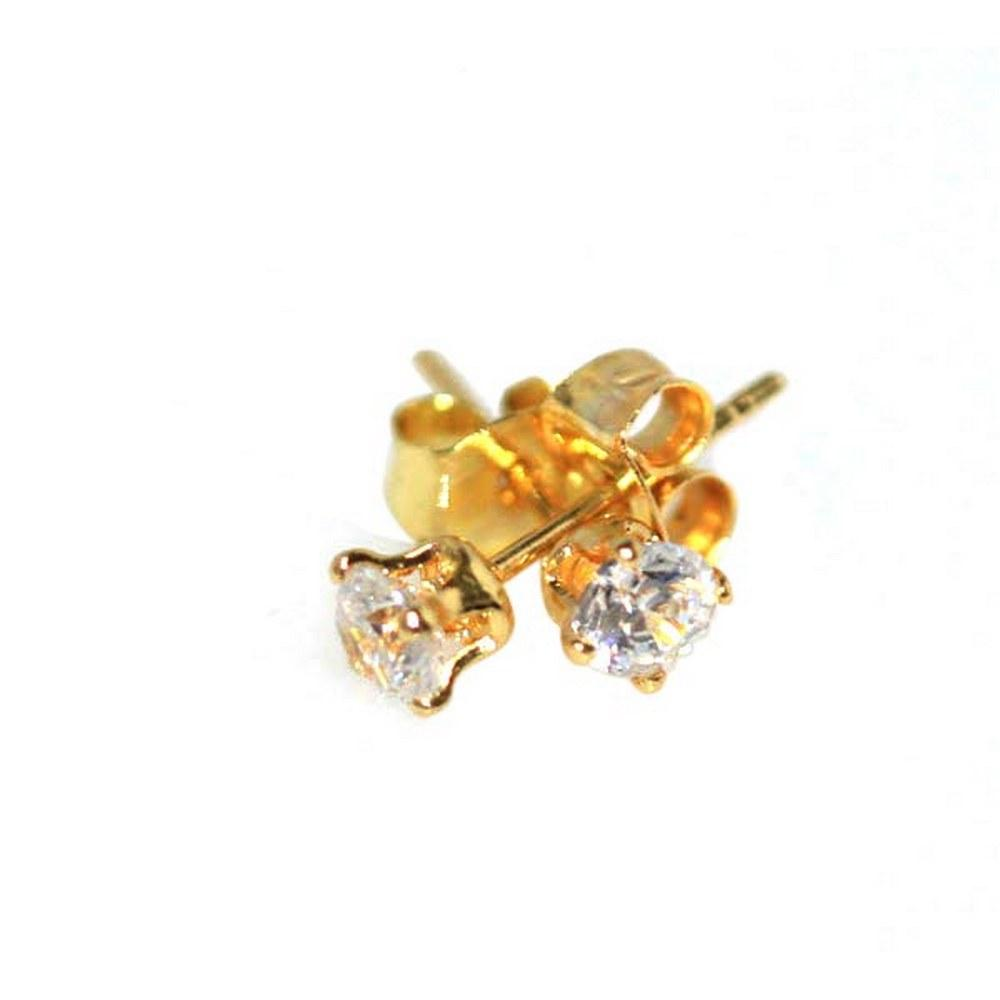 18K GOLD PLATED CZ STUD EARRINGS