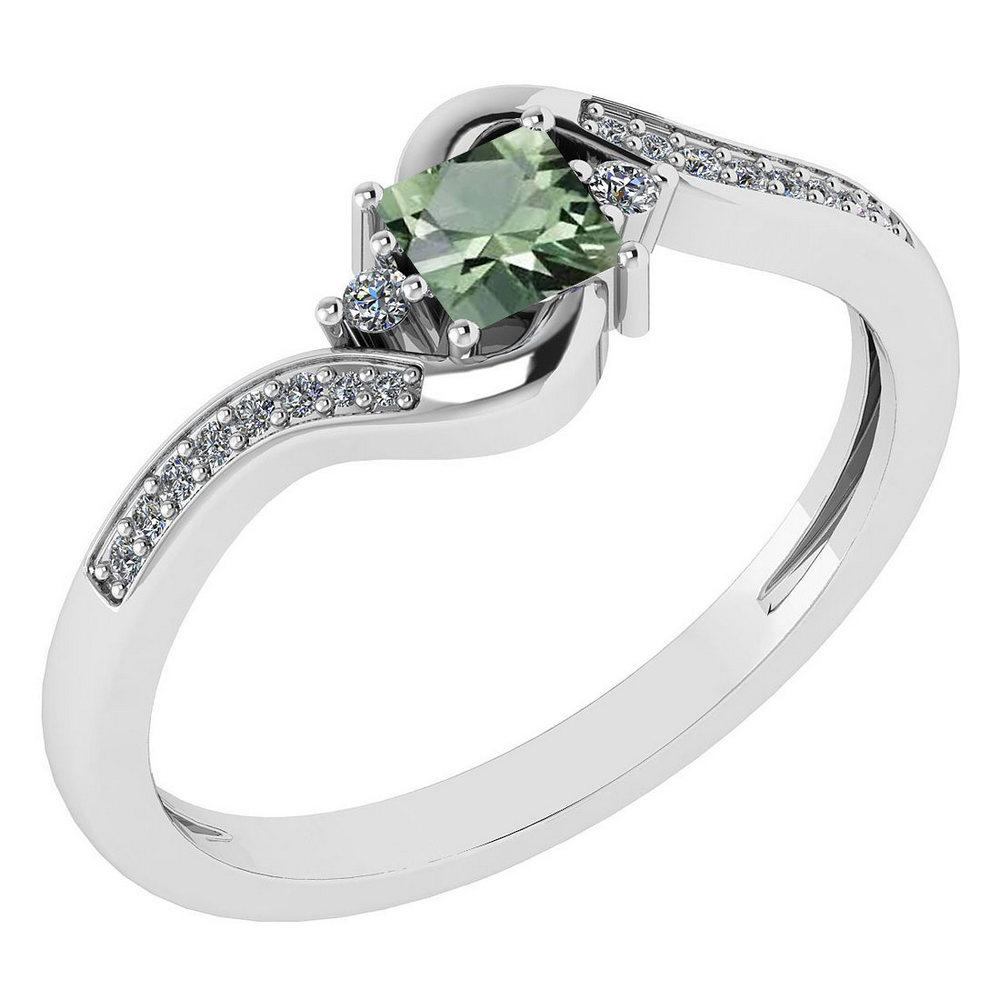 Certified 0.51 Ctw Green Amethyst And Diamond 14k White Gold Halo Promise Ring Made In USA