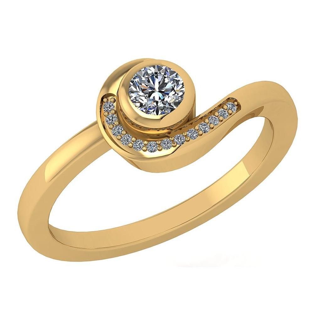 Certified 0.31 Ctw Diamond 14K Yellow Gold Halo Ring