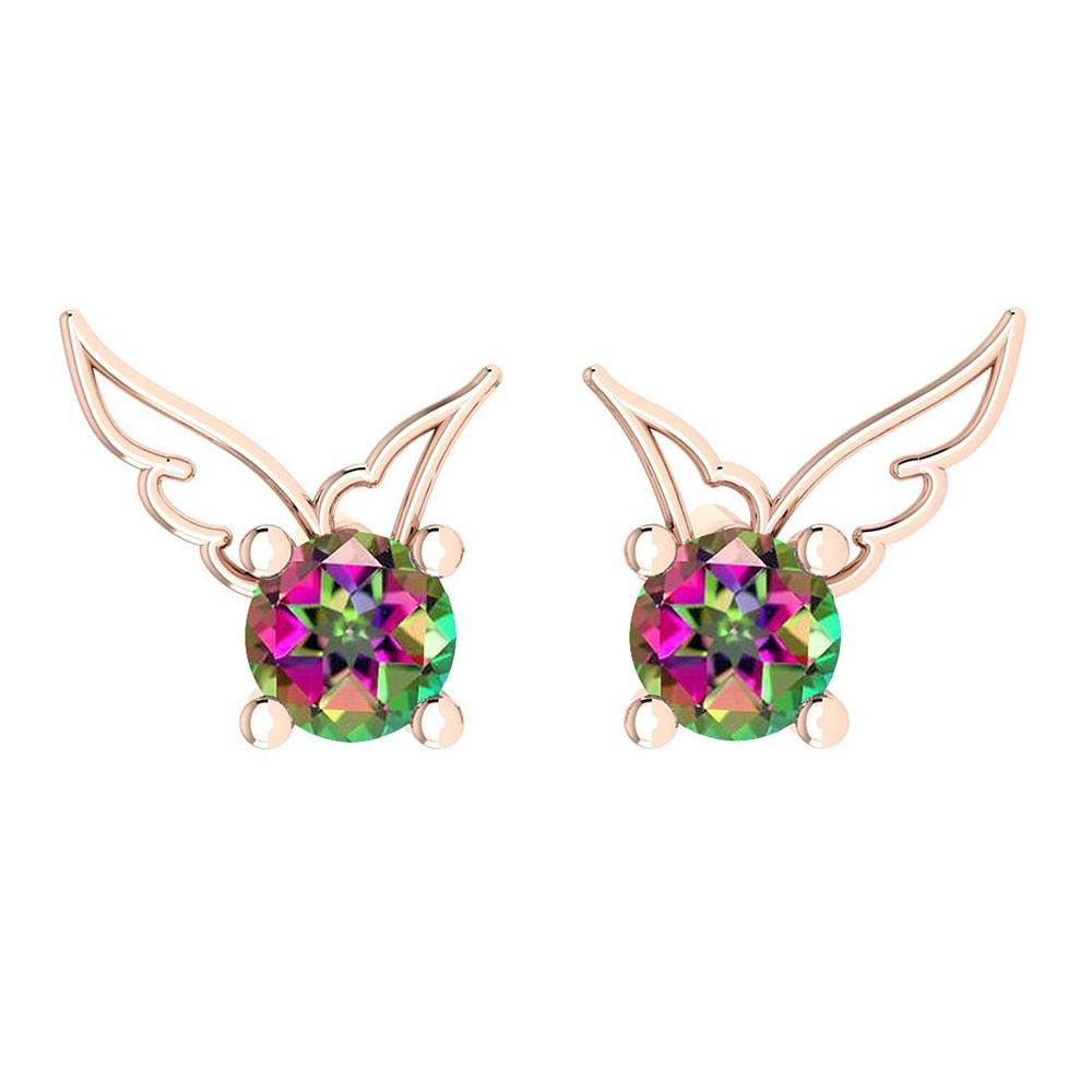 Certified 0.50 Ctw Mystic Topaz Stud Earrings 14K Gold Rose Gold Made In USA