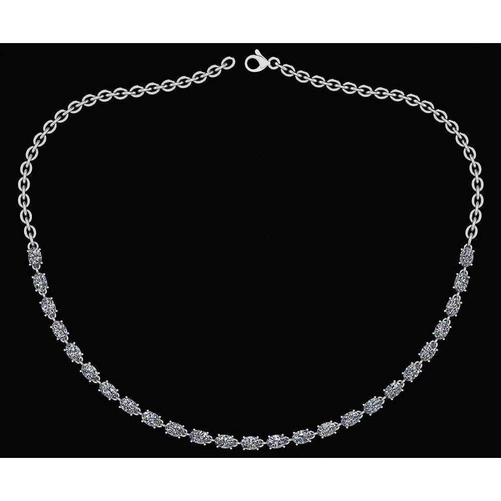 Certified 12.50 Ctw Diamond Necklace For Ladies 18K White Gold (SI2/I1)