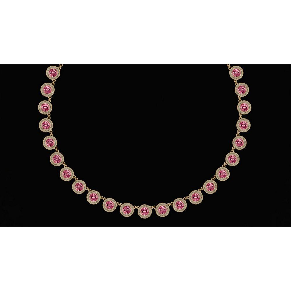 Certified 32.61 Ctw Pink Tourmaline And Diamond VS/SI1 Beautiful Necklace 14K Yellow Gold