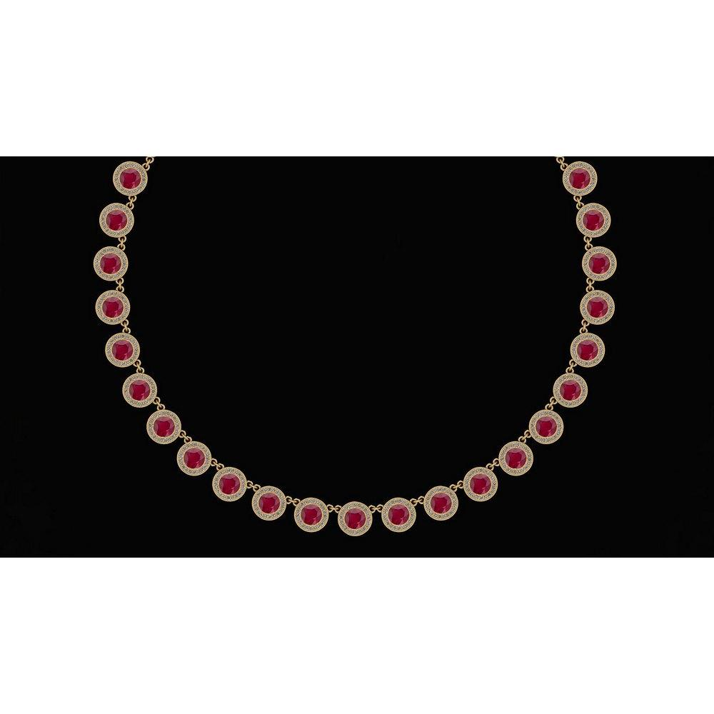 Certified 32.61 Ctw Ruby And Diamond VS/SI1 Beautiful Necklace 14K Yellow Gold