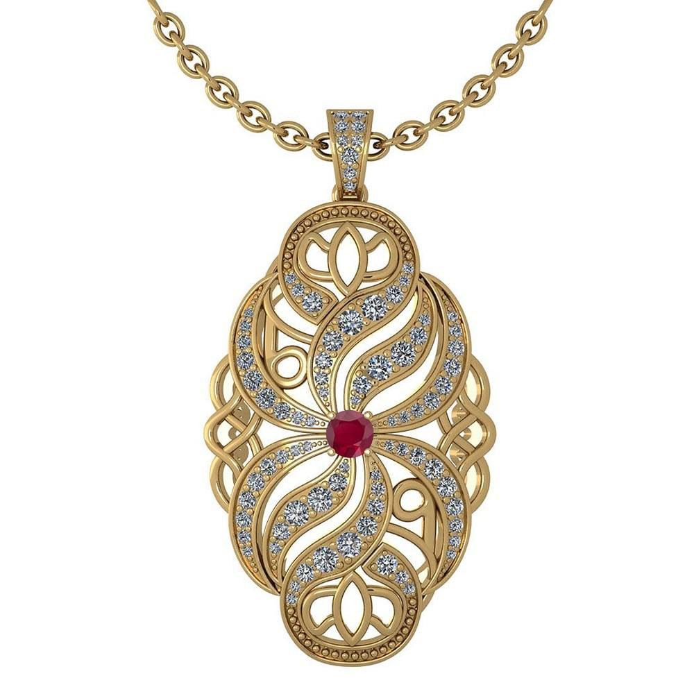 Certified 1.37 Ctw Ruby And Diamond Necklace For Styles Females 14k Yellow Gold