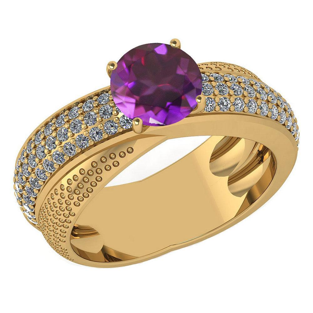Certified 1.75 Ctw Amethyst And Diamond Wedding/Engagement 14K Yellow Gold Halo Ring (VS/SI1)
