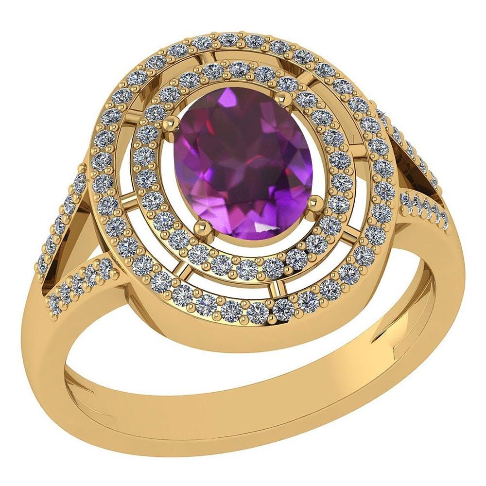 Certified 1.66 Ctw Amethyst And Diamond 14k Yellow Gold Halo Ring