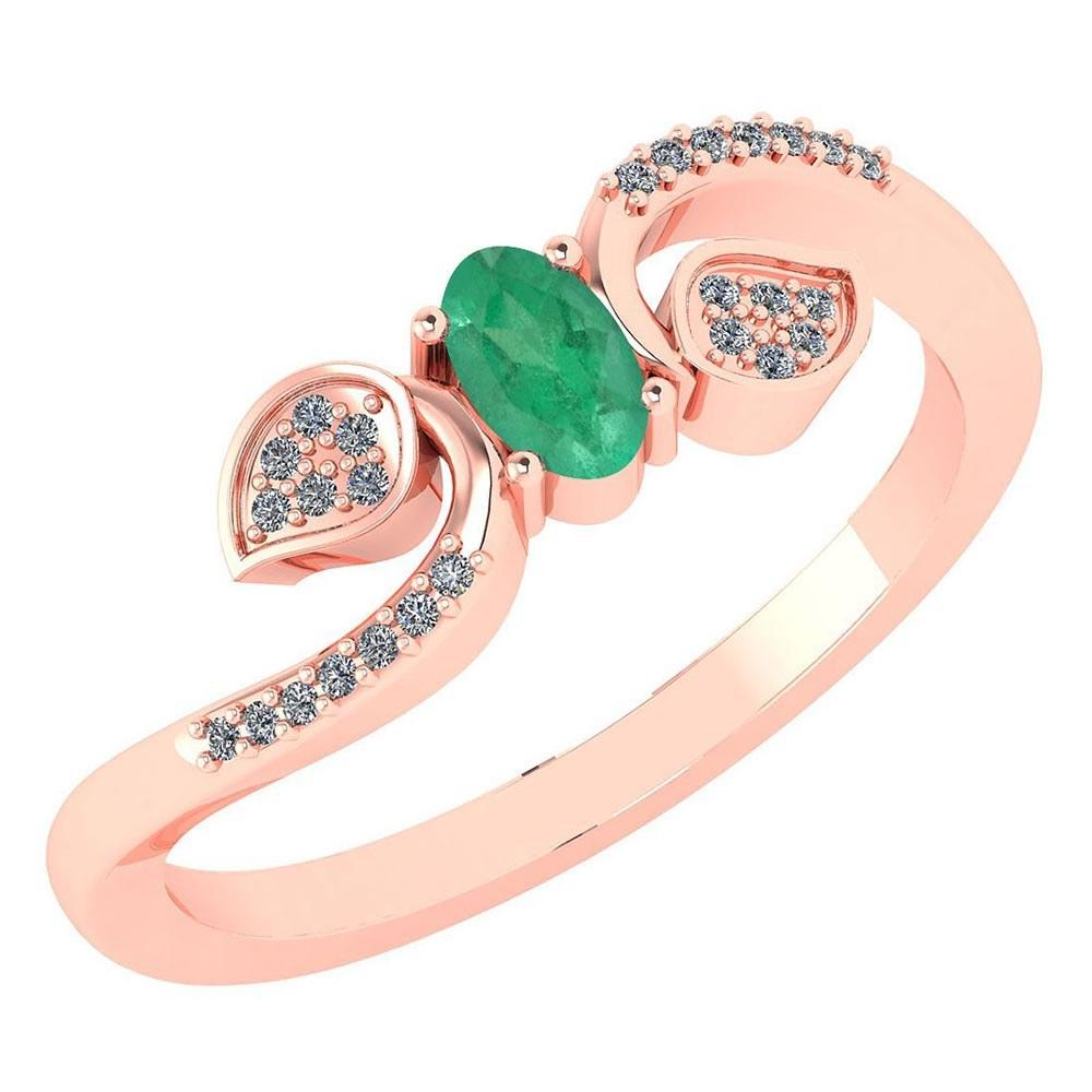 Certified 0.28 CTW Emerald And Diamond 14k Rose Gold Halo Ring