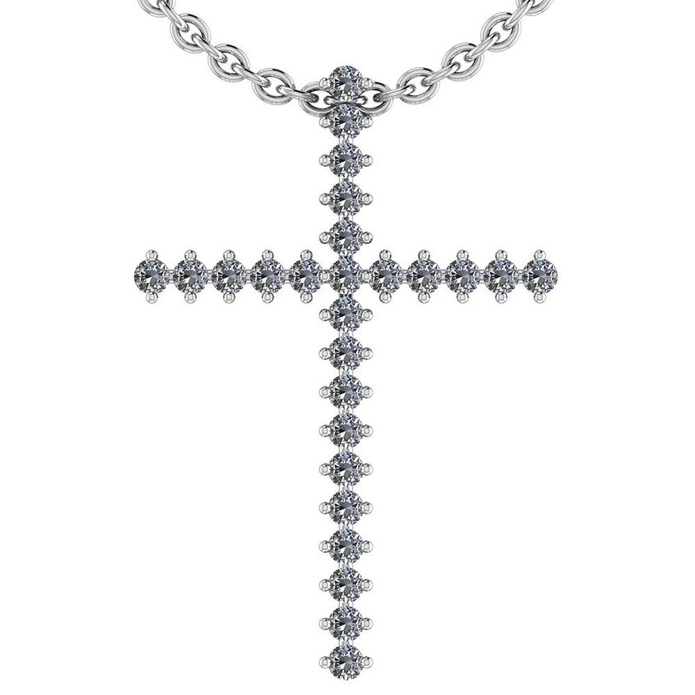 Certified 0.91 Ctw Diamond I1/I2 Cross Style Pendant Necklace 14K Gold