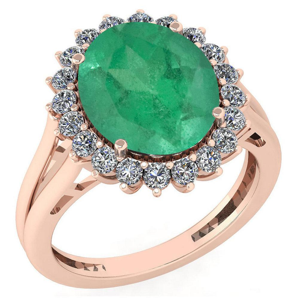 Certified 5.65 Ctw Emerald And Diamond VS/SI1 Halo Ring 14K Rose Gold Made In USA