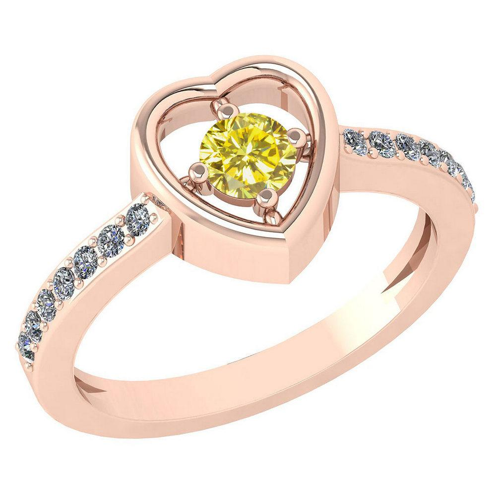 Certified 0.33 Ctw Treated Fancy Yellow Diamond 14K Rose Gold Ring