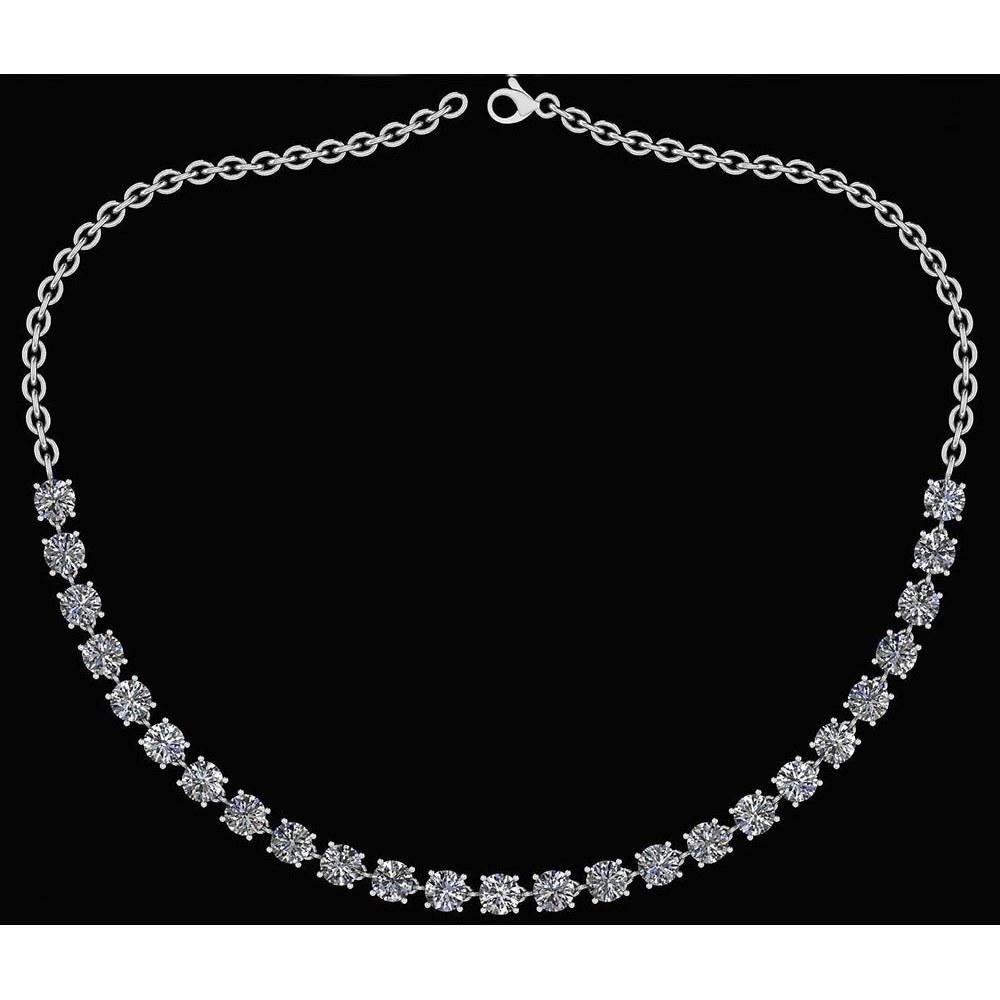 Certified 32.50 Ctw Diamond Necklace For Ladies 14K White Gold (SI2/I1)