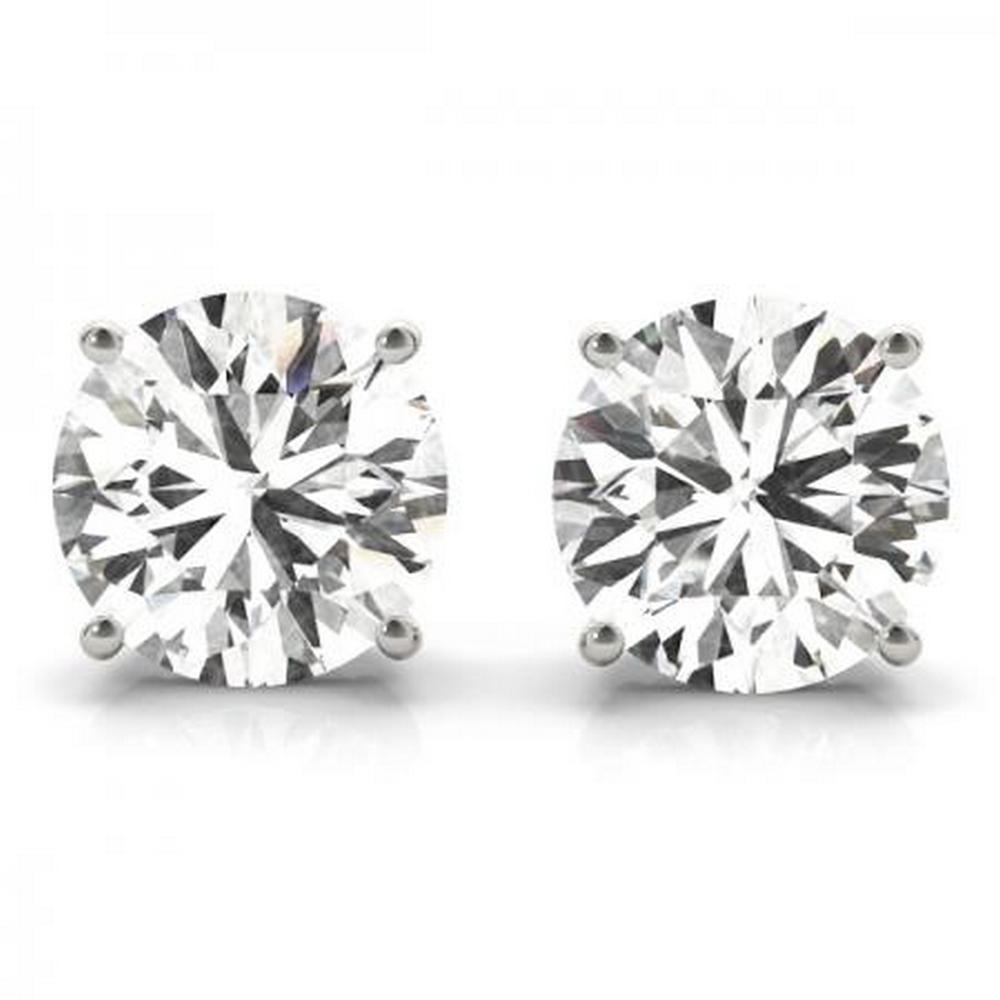 CERTIFIED 0.47 CTW E/SI2 ROUND DIAMOND SCREW BACK EARRINGS IN 14K WHITE GOLD