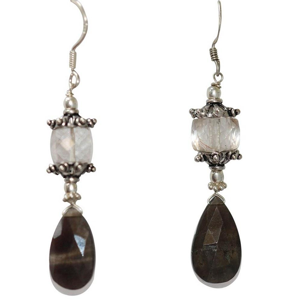 42.75 CTW ROSE QUARTZ & SMOKEY TOPAZ EARRINGS .925 STER