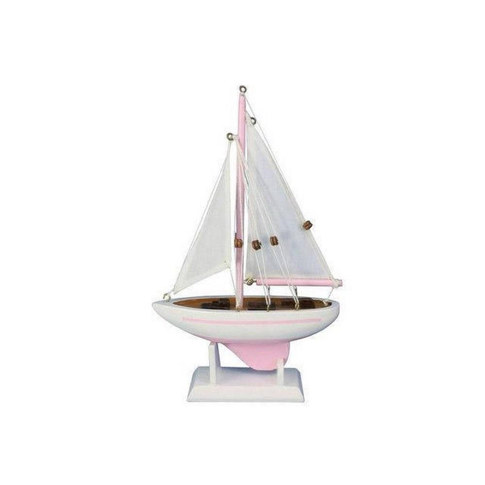 Wooden Pink Pacific Sailer Model Sailboat Decoration 9in.