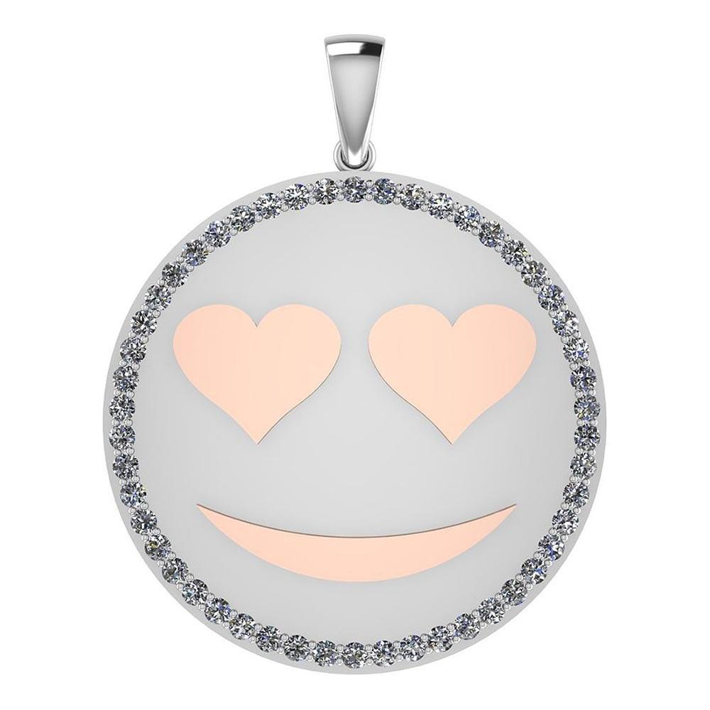 Certified 0.90 Ctw Diamond Smiley 18K White Gold Pendant