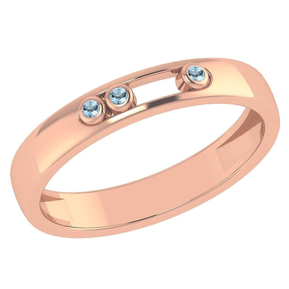 Certified 0.03Ctw Genuine Aquamarine 14k Rose Gold Band