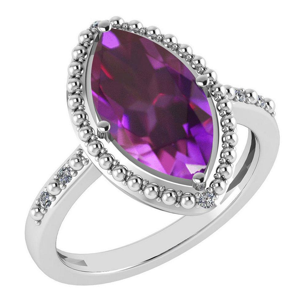Certified 1.58 Ctw Amethyst And Diamond VS/SI1 Ring 14K White Gold Made In USA