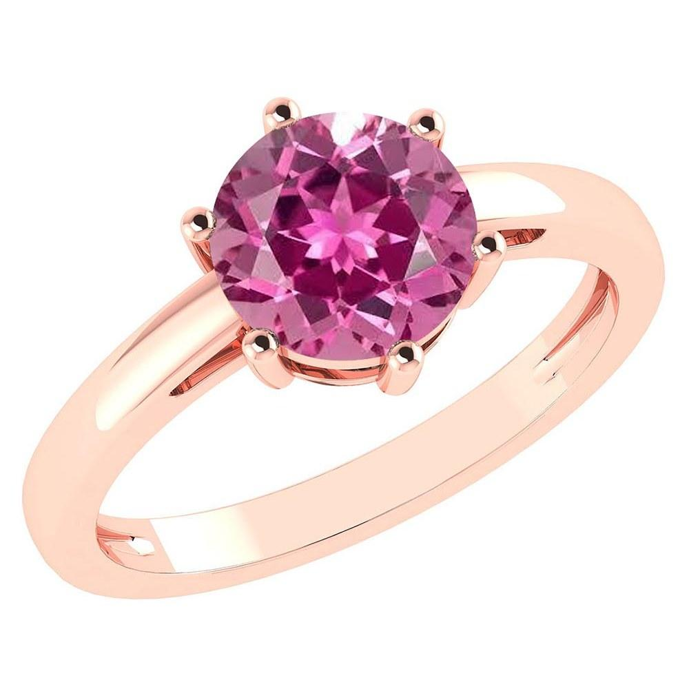 Certified 2.00Ctw Genuine Pink Tourmaline 14k Rose Gold Halo Ring